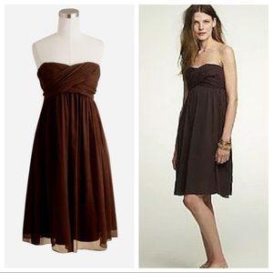 J Crew Taryn Espresso Silk Strapless Mini Dress